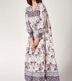 Yazlık Elbise Astarlı Lila