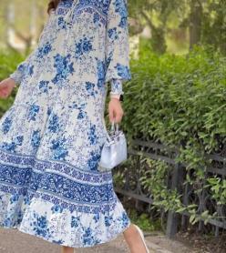 Yazlık Elbise Astarlı Mavi