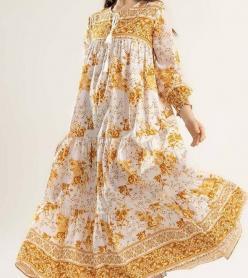 Yazlık Elbise Astarlı Sarı