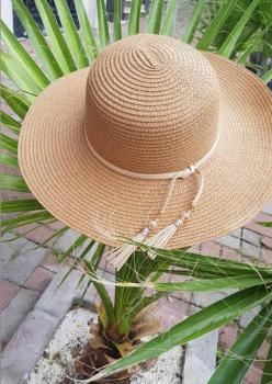 Camel Boncuklar Hasır Şapka