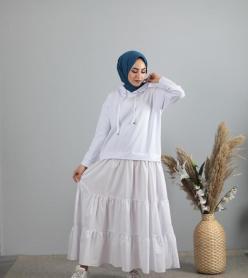 Penye Poplin Kapşonlu Elbise Beyaz