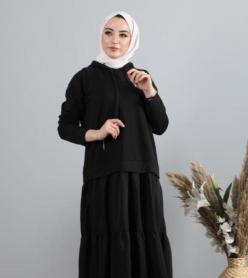 Penye Poplin Kapşonlu Elbise  Siyah