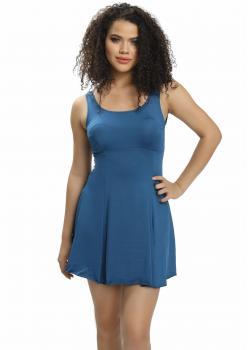 Büyük Beden Düz Şortlu Elbise Mayo - PETROL YEŞİLİ