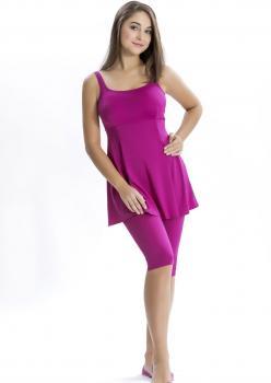 Düz Taytlı Elbise Mayo - FUŞYA