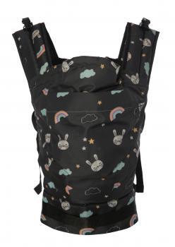 Lal Baby Tavşan Desenli Siyah Ergonomik Bebek Kangurusu