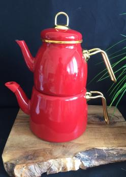 Emaye Kırmızı Çaydanlık