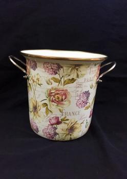 Şemsiyelik Emaye France  Çiçek Desenli Vazo
