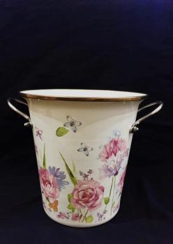 Şemsiyelik Emaye Gül Desenli Vazo