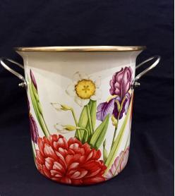 Şemsiyelik Emaye İri Çiçek Desenli Vazo
