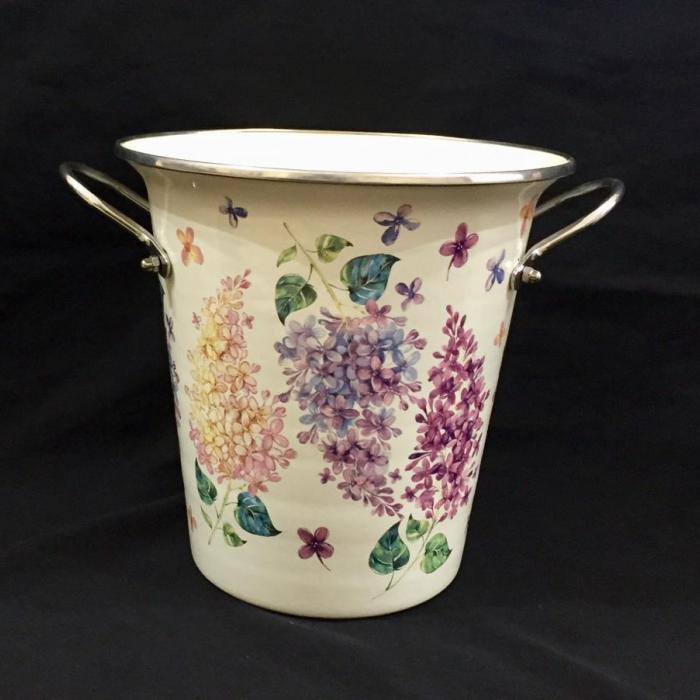 Şemsiyelik Emaye Sümbül Desenli Vazo