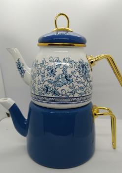 Emaye Çini Desen Mavi Çaydanlik