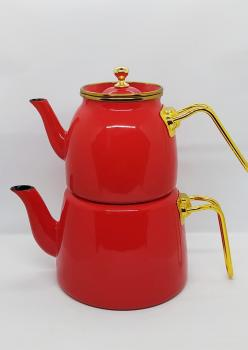 Emaye Kırmızı Gold Detaylı Çaydanlik