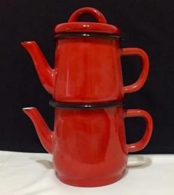 2 Kişilik Kırmızı Emaye Çaydanlık