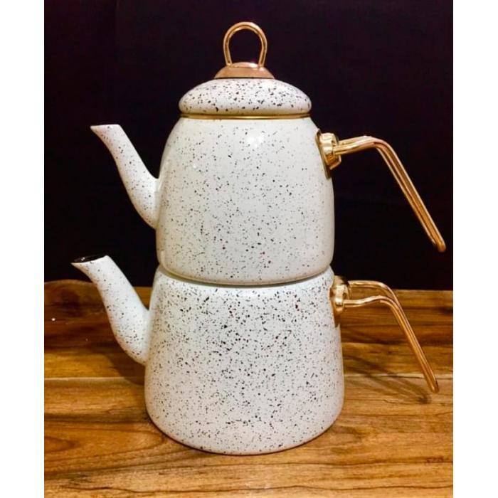 Beyaz Çilli Emaye Çaydanlık