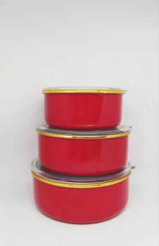 Emaye kırmızı 3lü saklama seti
