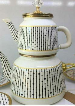Emaye özel desen çay seti