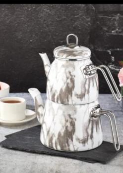 Beyaz Mermer Desen Emaye Çaydanlık Takımı