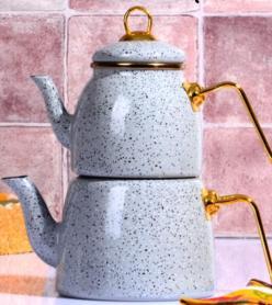Gri Çilli Emaye Çaydanlık Takımı