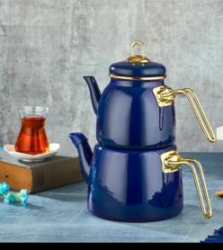 Lacivert Emaye Çaydanlık Takımı