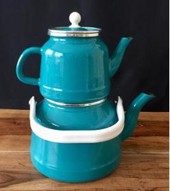 Vintage Göbek Yeşili Emaye Çaydanlık Takımı