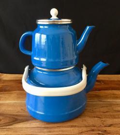 Vintage Mavi Emaye Çaydanlık Takımı