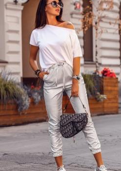 Kayık Yaka Tshırt Pantolon İkili Takım (Beyaz)