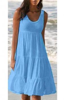 Kalın Askılı Kloş Süprem Elbise (Mavi)