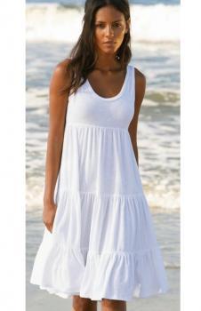 Kalın Askılı Kloş Süprem Elbise (Beyaz)