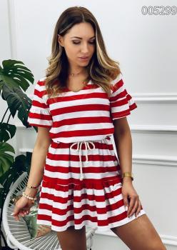 Çizgili Eteği Volanlı Viscon Elbise (Kırmızı)