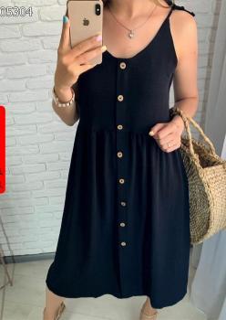 İp Askılı Düğmeki Midi Boy Elbise (Siyah)