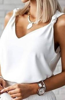 Askı Detay V Yaka Ayrobin Bluz (Beyaz)
