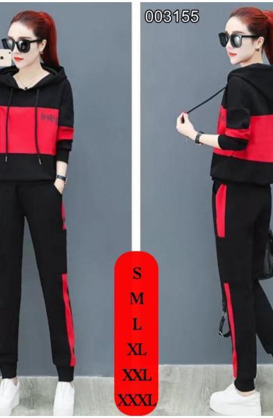 Kapşonlu Şerit Detay Yeni Sezon İkili Takım (Kırmızı) satın al