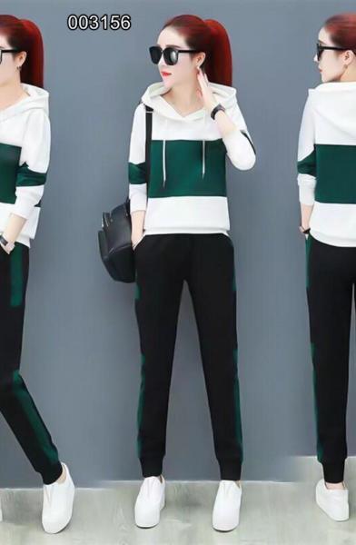 Kapşonlu Şerit Detay Yeni Sezon İkili Takım (Yeşil) satın al