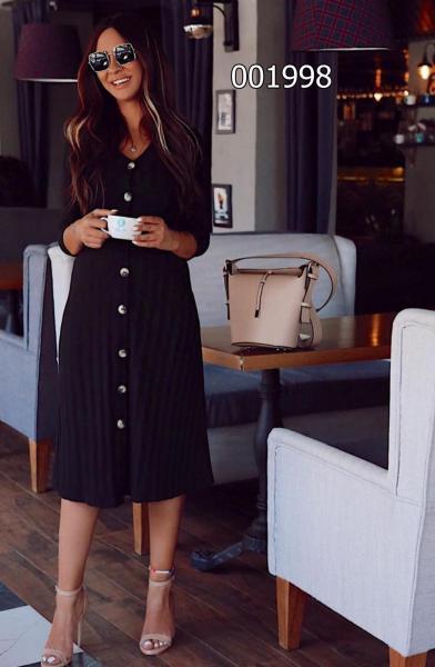 Midi Boy V Yaka Düğmeli Elbise (Siyah) satın al