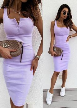Yakası Düğmeli Kaşkorse Elbise (Lila)