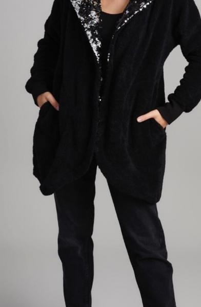 Payet Detay Kapşonlu Peluş Ceket (Siyah) satın al