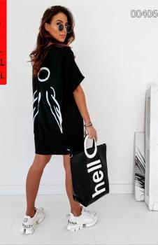 Melek Kanat Baskılı Spor Elbise (Siyah)