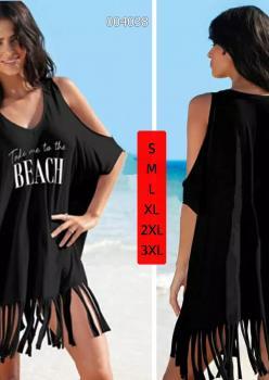 Omuz Dekolteli Saçaklı Tunik-Elbise- Pareo (Siyah)