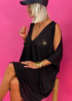 Önü Arkası V Kol Dekolteli Tunik- Elbise - Pareo (Siyah)