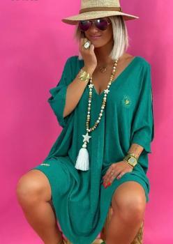 Önü Arkası V Kol Dekolteli Tunik- Elbise - Pareo (Yeşil)