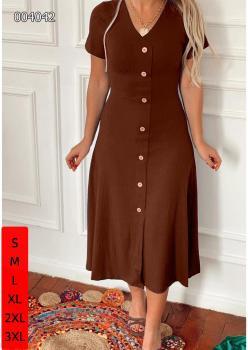 V Yaka Midi Boy Kaşkorse Kumaş Elbise (Taba)