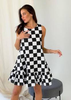 Kolsuz Eteği Volanlı Dama Desen Elbise