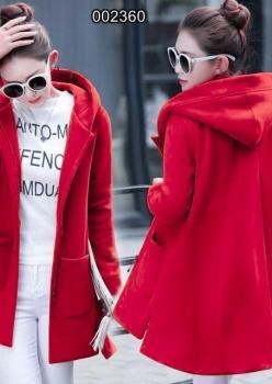 Kapşonlu Cepli Kaşe Ceket Kırmızı