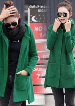 Kapşonlu Cepli Kaşe Ceket Yeşil