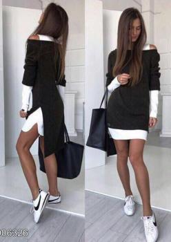 Omuz dekokletli ikili takım elbise(siyah)