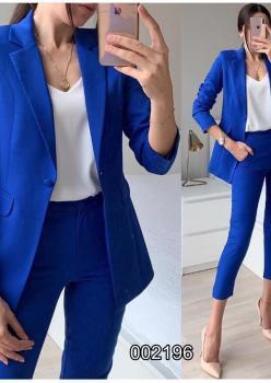 Atlas Kumaş Blazer Ceket Pantolon İkili Takım (Sax)