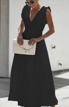 Sırt Dekolteli Eteği Volanlı Maxı Boy Elbise (Siyah)