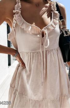 Yakası Fırfırlı Astarlı Elbise (Bej)