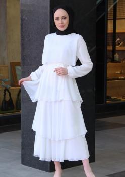 Kat Kat Şifon Elbise Beyaz