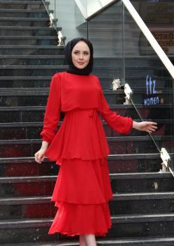 Kat Kat Şifon Elbise Kırmızı